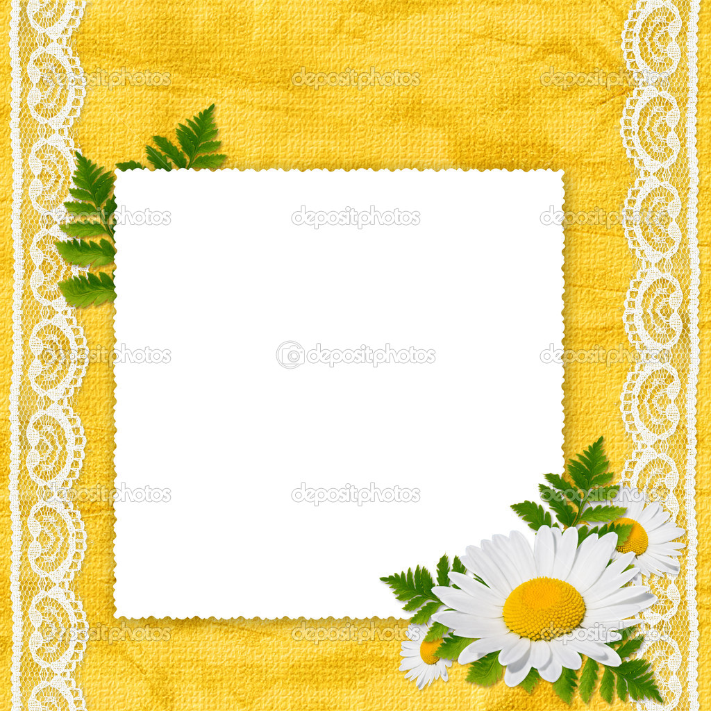 White frame with camomile, leaf and white laces on the yellow background — Stock Photo #1415446
