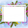Frame with branches and ribbon — Stock Photo