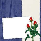 Frame with roses on the blue backgr — Photo