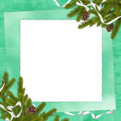 White frame with branches and ribbon — Стоковое фото