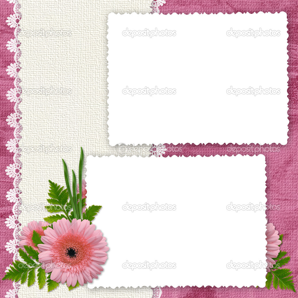 White frame with flowers and plants on the pink background — Stock Photo #1423662