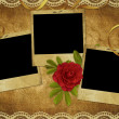 Foto Stock: Vintage card from old paper and rose