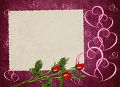 Vintage carton de vieux papiers et rose — Photo