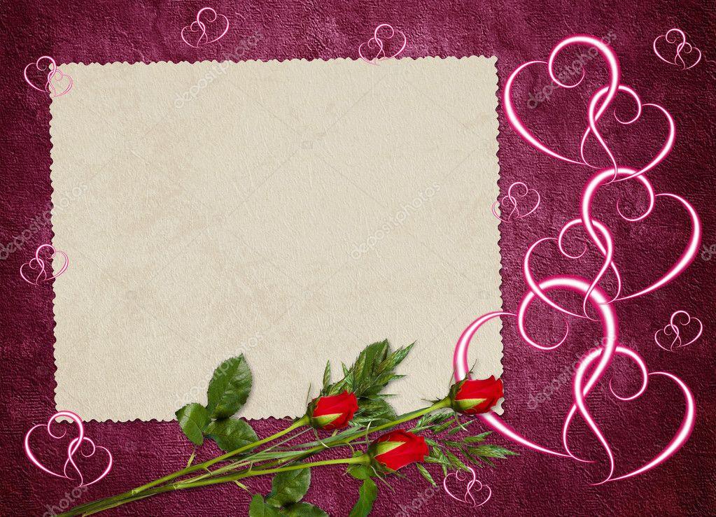 Vintage card from old paper and rose on the abstract background  Stock Photo #1446209
