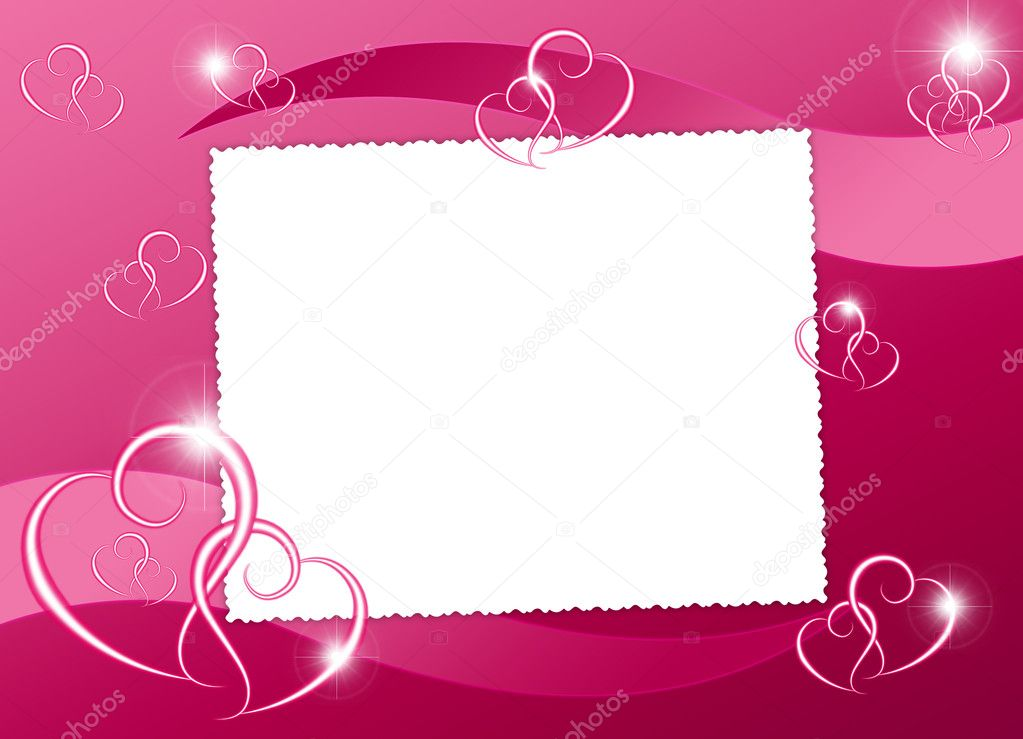 White frame with heart on the abstract background — Stock Photo #1446301
