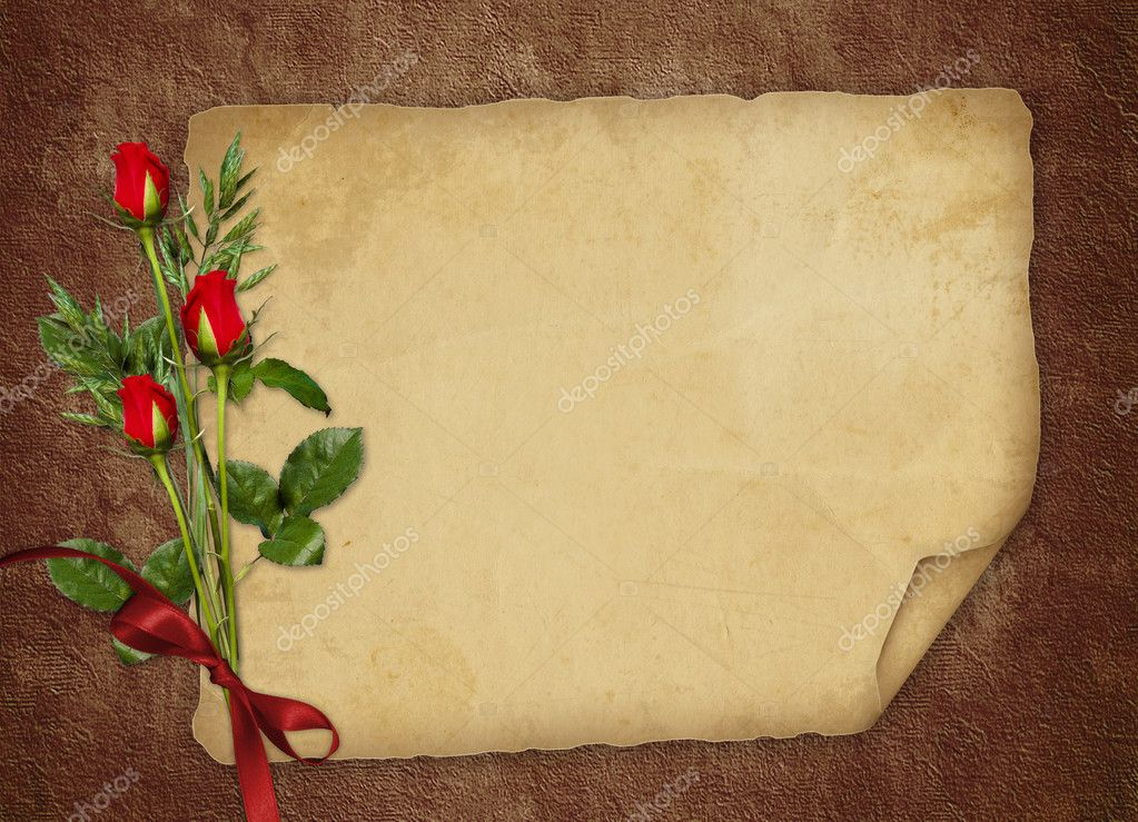 Vintage card for the invitation or congratulation with red rose — Stok fotoğraf #1508200