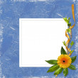 White frame with a bouquet of flower - Stock Photo