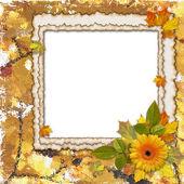 Cadre avec feuilles et fleur — Photo