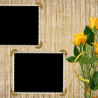 Card for the holiday with yellow rose — Stock Photo