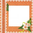White frame with flowers and plants — Stok fotoğraf