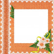 Foto Stock: White frame with flowers and plants
