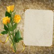 Card for the holiday with yellow rose - Foto Stock