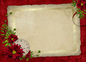 белая рамка с цветами и будильник — Стоковое фото