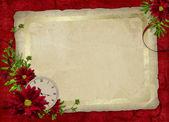 用鲜花和时钟的白色框架 — 图库照片