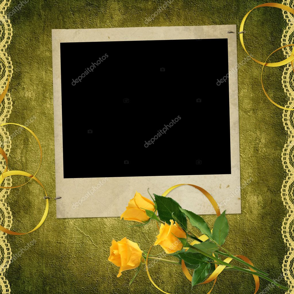 Vintage card for the invitation or congratulation with red rose — Stock Photo #1530180