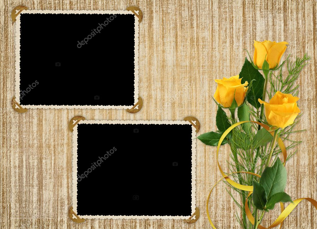 Card for the holiday with yellow rose on the abstract background — Stock Photo #1530190
