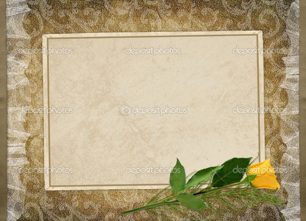 Card for the holiday with yellow rose on the abstract background  Stock Photo #1530422