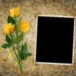 Card for the holiday with yellow rose - Foto de Stock