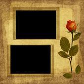 从旧的纸卡和玫瑰葡萄酒 — 图库照片