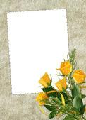 карта для отдыха с желтой розы — Стоковое фото