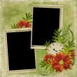 Frame with flowers and clock - Foto de Stock