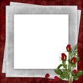 Karte für den urlaub mit roter rose — Stockfoto