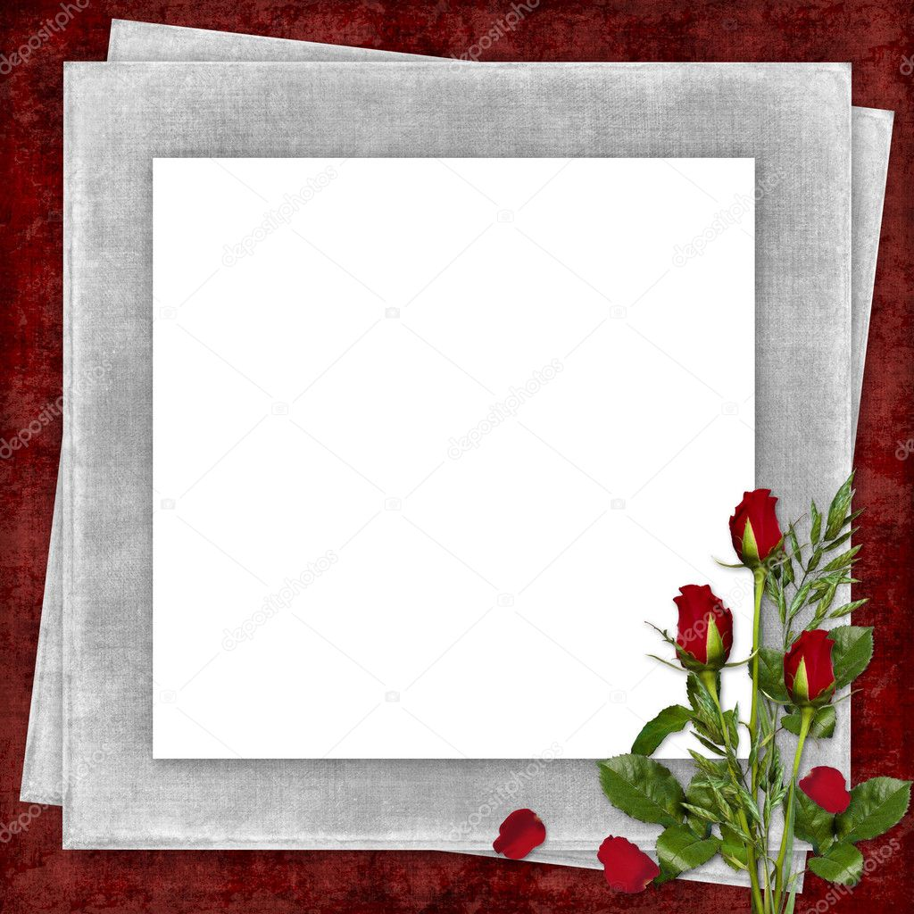 Card for the holiday with red rose on the abstract background — Stock Photo #1722044