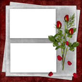 Card for the holiday with red rose — Stock Photo