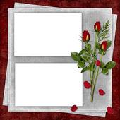 Karta na wakacje z czerwona róża — Zdjęcie stockowe