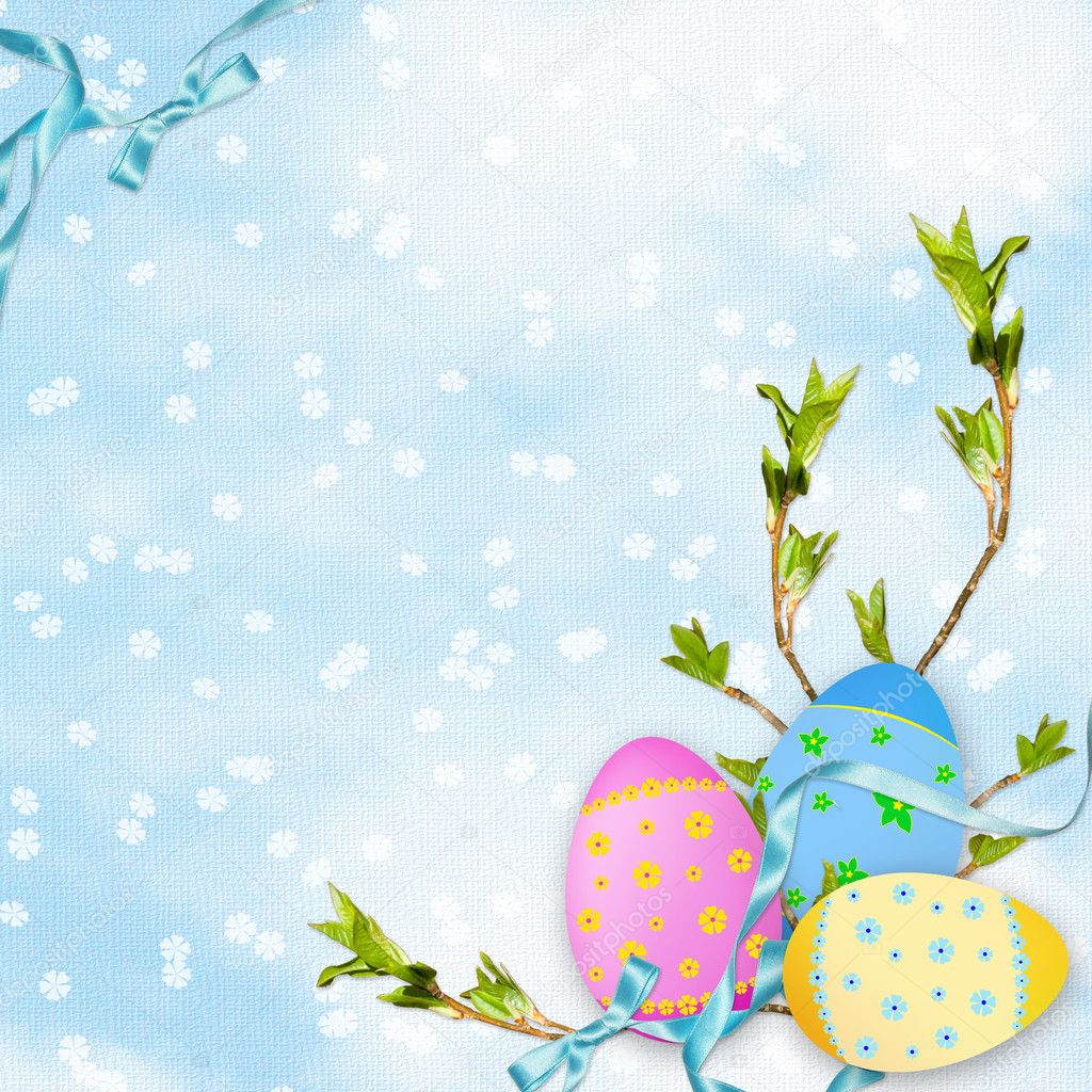 Easter card for the holiday  with egg on the abstract background  Stock Photo #2234792
