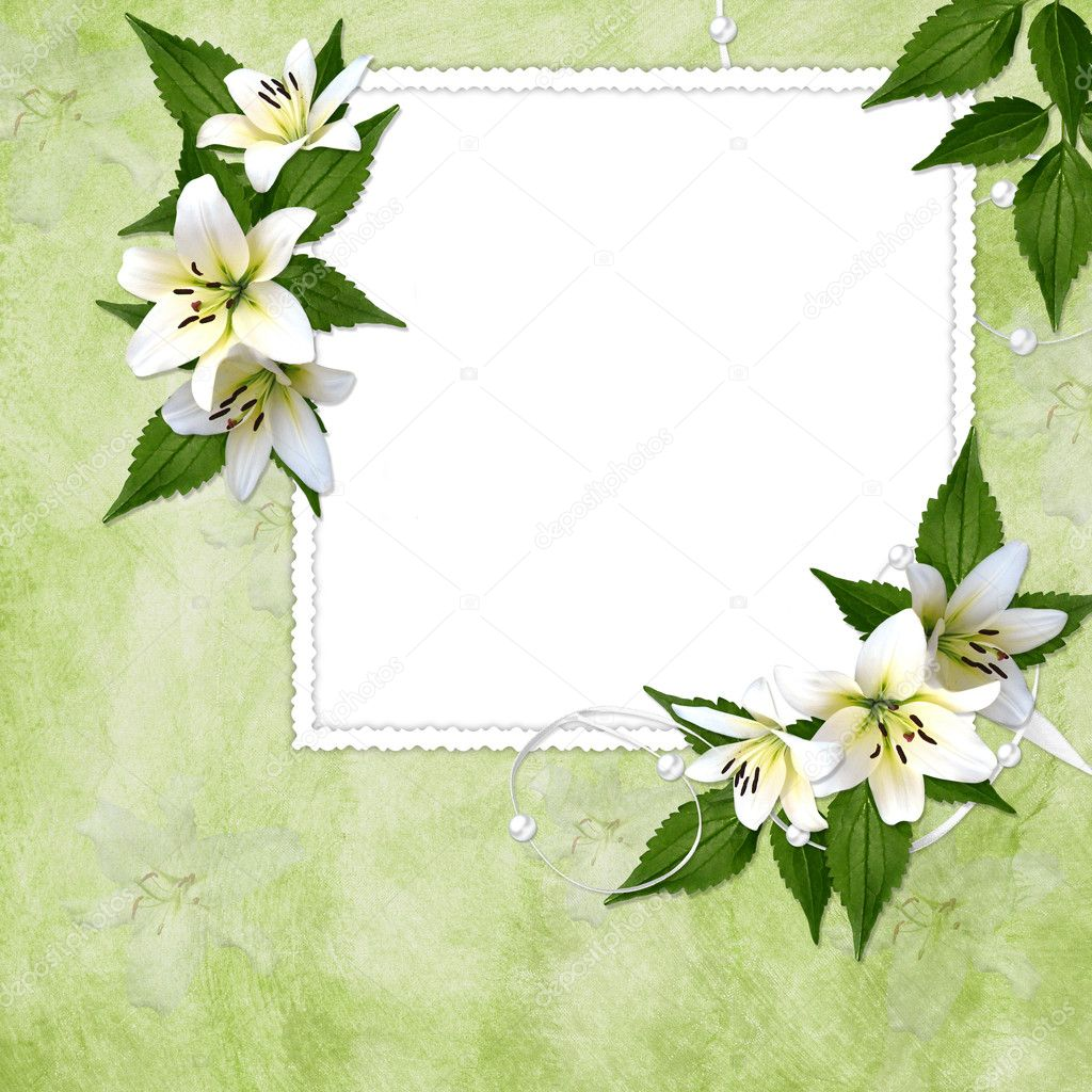 Card for the holiday  with flowers on the abstract background  Foto Stock #2289246