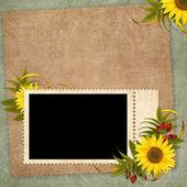 винтажная открытка для отдыха с цветком — Стоковое фото