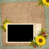 Vintage card for the holiday with flower — Foto Stock