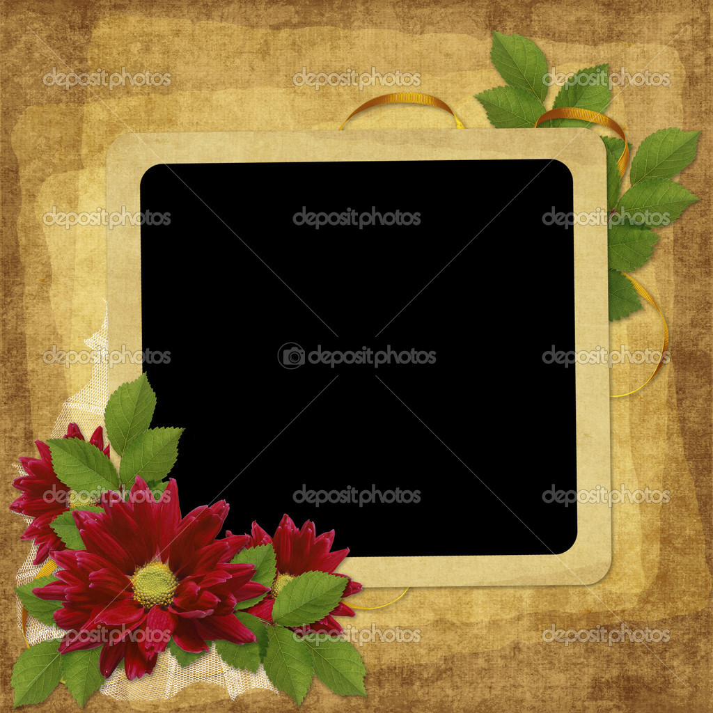 Vintage card for the holiday with flower on the abstract background — Photo #2456868