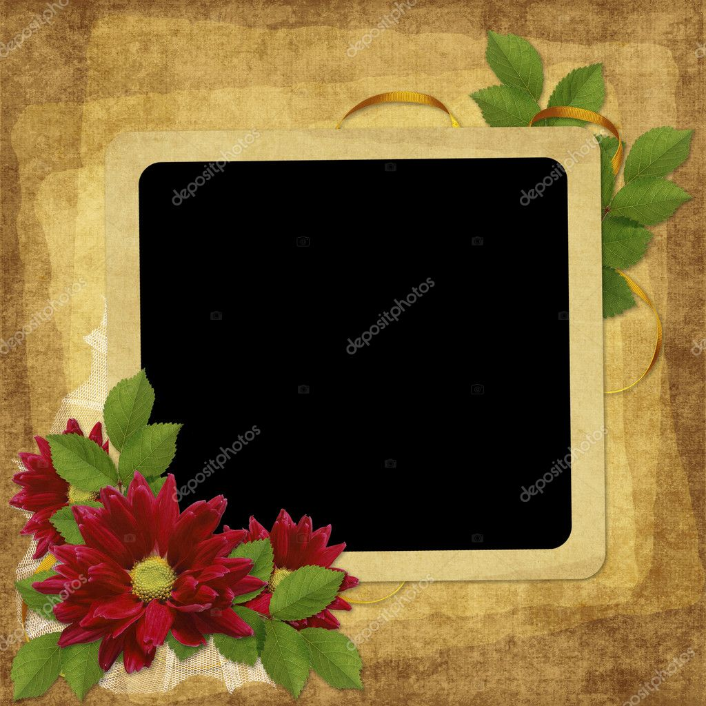Vintage card for the holiday with flower on the abstract background  Stok fotoraf #2456868