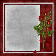 Card for holiday with red rose — Zdjęcie stockowe #2534131