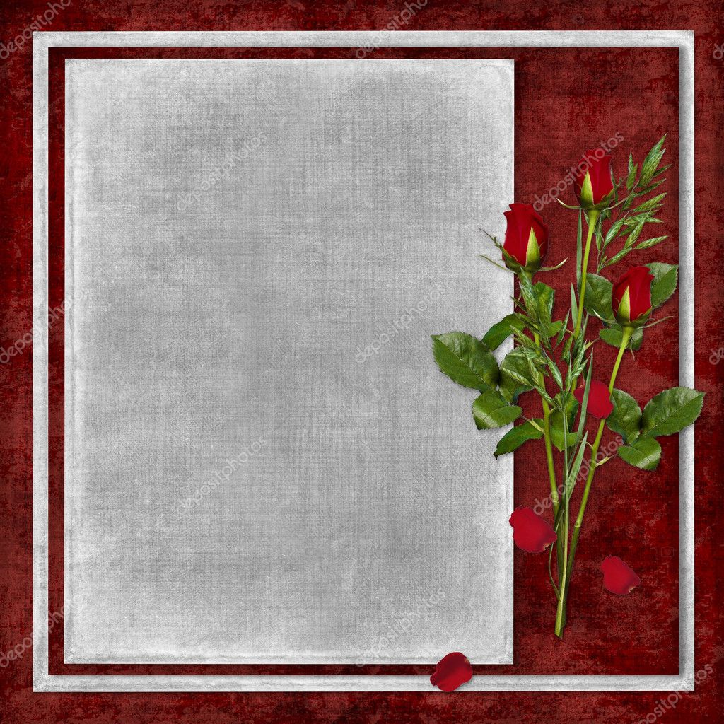 Card for the holiday with red rose on the abstract background — Stock Photo #2534131