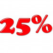 Stock Photo: 3D red percentage symbol