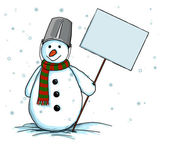 Snowman with sign (table, blank,form) — Stock Photo