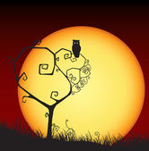 Scary valentine card, tree, owl, sunset — 图库矢量图片