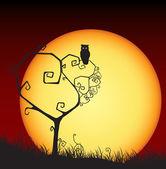 Tarjeta de san valentín aterrador, árbol, búho, puesta de sol — Vector de stock