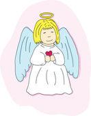 Cartoon angel with a heart — Stock Vector