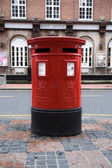 Traditional English red mailbox — Stock Photo