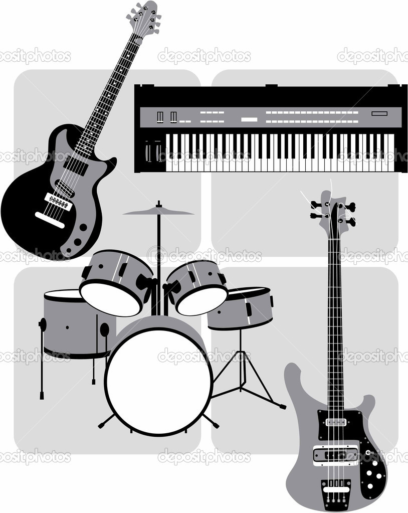 Greyscale vector image of rock or jazz combo instruments: guitar, bass, keyboard and drums — Stock Vector #1389972