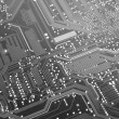 Black and White Computer Circuit Board - Stock Photo