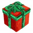 Red and Green Christmas Present Box - Stock Photo