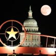 Stock Photo: Star of Texas and State Capitol Building