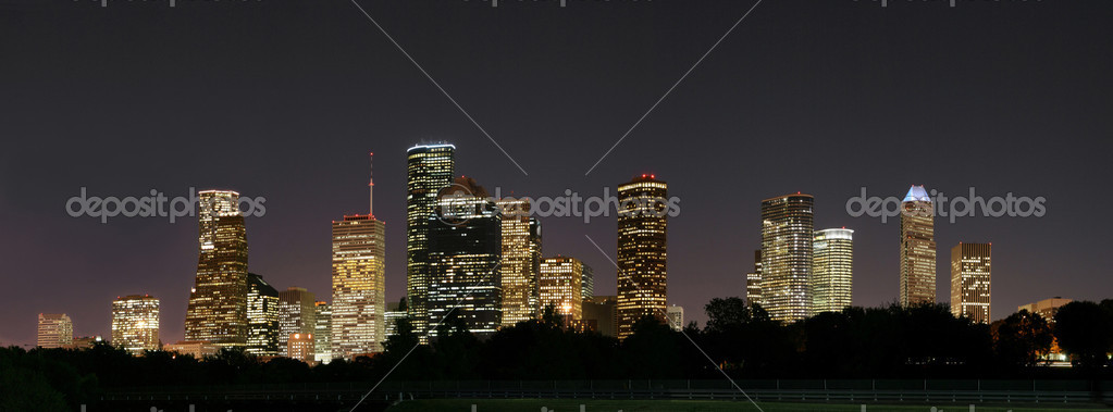 A night panoramic of downtown houston  Stock Photo #1385393
