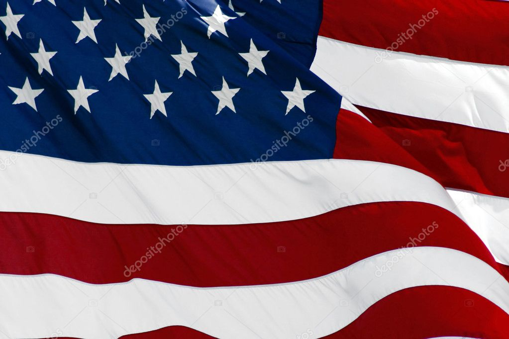 An American flag flaping boldly in the wind. — Stock Photo #1388407