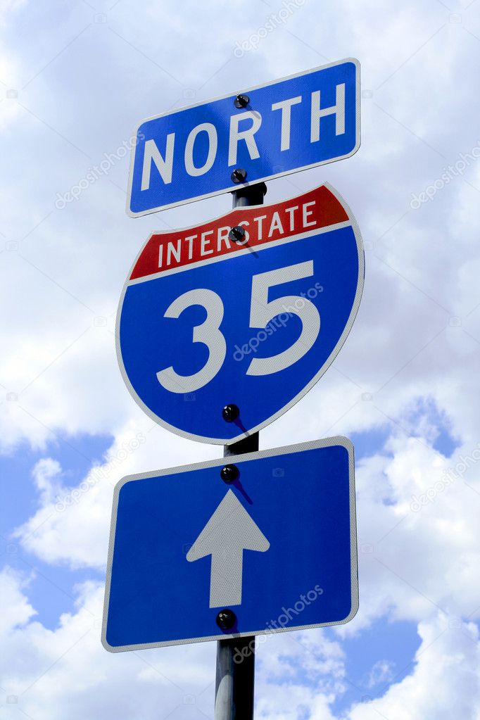 A highway 35 road sign in Texas.  Stock Photo #1388485